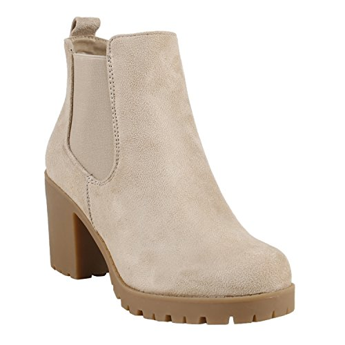 Damen Stiefeletten Blockabsatz Chelsea Boots Profilsohle Creme Beige Velours