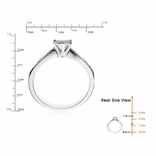 Diamond Manufacturers, Damen, Verlobungsring mit 0.25 Karat E/VVS1 feinem und zertifiziertem Herzdiamant in 18k Weißgold, Gr. 41 - 5