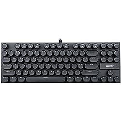 AUKEY Tastiera Meccanica Stile Vintage con Switch Blu, 87 Tasti 100% Anti-Ghosting e Impermeabile Tastiera Dattilografo per Linux, Windows e Mac OS