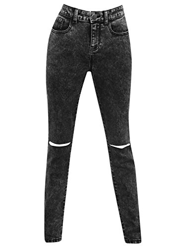 M&Co Teen Girl Cotton Rich Black Acid Wash Skinny Fit Five Pocket Design Ripped Knee Super Stretch Jeans