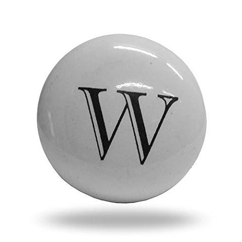 Porte de l'alphabet Lettre W d'armoire en céramique Bouton de tiroir et poignée
