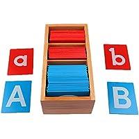 FITYLE Carta de Alfabetos de Papel de Lija Montessori de Madera Letra A-Z para Niños Educación