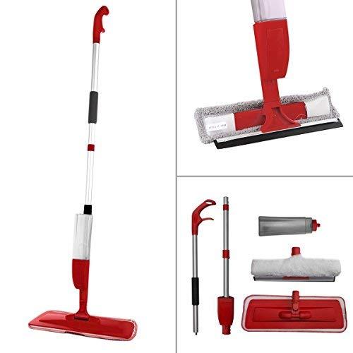 2in 1rosso KCT spray mop pavimento e finestra in microfibra per con cuscinetti–ideale per parquet, laminato, piastrelle e più