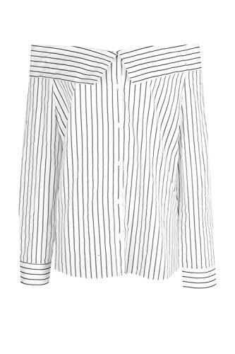 blanc Femmes Tall Aya Top Tissé À Épaules Dénudées Et Rayures Blanc
