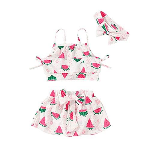 aiyvi Kleinkind Baby Mädchen Badeanzüge Set,Beach Suspender Tops + Bow Rock + Stirnbänder Bademode Set,Obst Drucken Badebekleidung Liebenswert,für 1-5 Jahre Mädchen