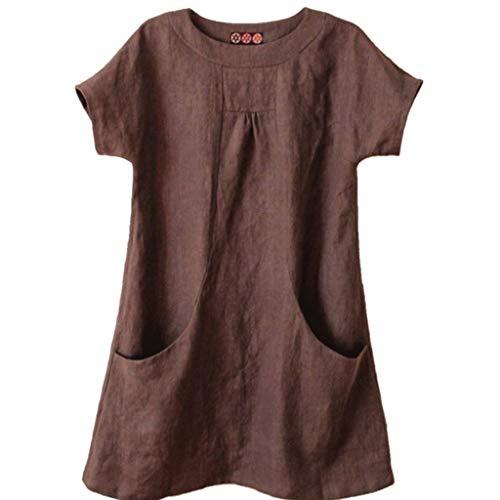 SSUPLYMY Damen Sommer T-Shirt Kurzarm Oberteil Shirt Lässige Schaltflächen Hemd Bluse Tunika Top mit Taschen Damen Rundhals Kurzarm Bluse Baumwolle Leinen T-Shirt Oberteile Kurzarm -