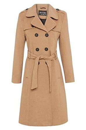 AW13* Womens Wool & Cashmere Belted Long Military Trench Warm Coat ...