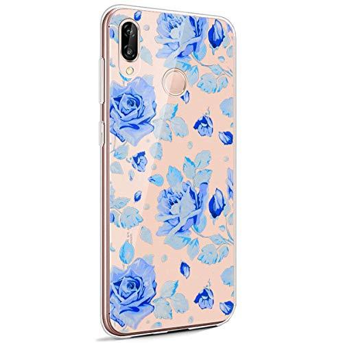 Coque Huawei P20 Lite,Huawei P20 Lite Housse Silicone Etui,Surakey Étui TPU Silicone Souple Coque Clair Transparent Cover Ultra Mince Soft Case Housse Protection pour Huawei P20 Lite (Fleur Bleue)