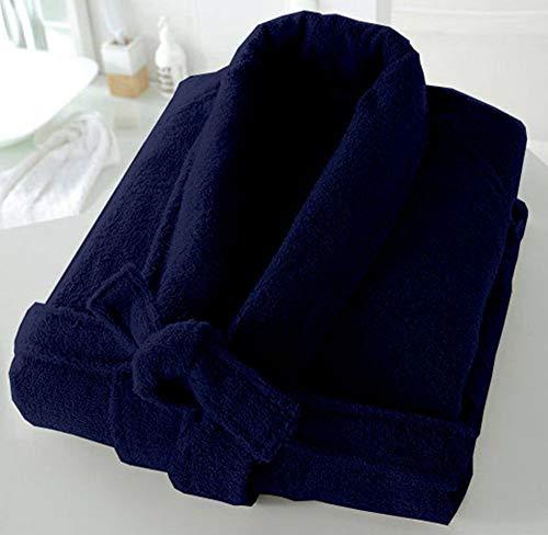 BellaCasa Casabella - Albornoz de Rizo de 500 g/m², 100% algodón, algodón, Royal_Blue, S/M