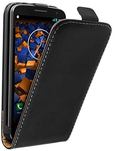 mumbi Echt Leder Flip Case kompatibel mit LG G2 Mini Hülle Leder Tasche Case Wallet, schwarz