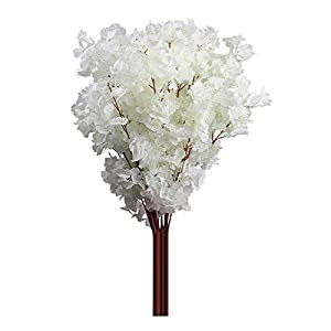Amesii – Ramo de flores de cerezo artificial de 3 ramas para decoración del hogar, color blanco