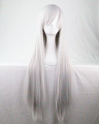 Kissparts 80cm Silber Weiß glattes Haar Cosplay Perücke mit Perücke Haarnetz und Kamm (Haare Weiß)