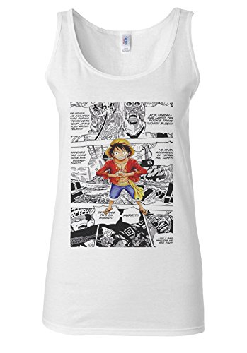 One Piece Monkey Luffy Manga Comic Manga White Women Vest Tank Top **Blanc