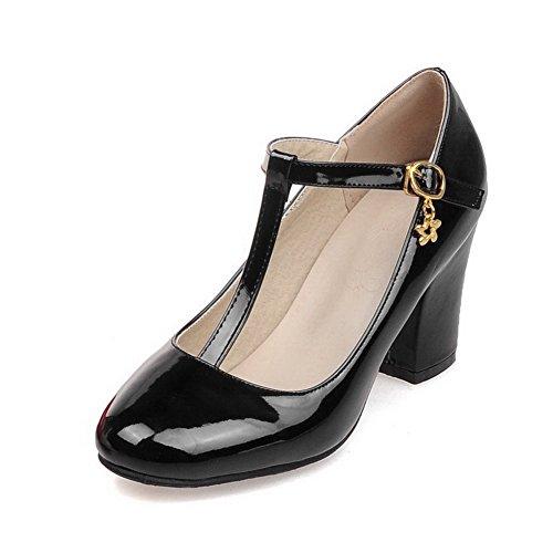 AllhqFashion Femme Verni Couleur Unie Boucle Rond à Talon Haut Chaussures Légeres Noir