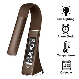 WILIT U2 5W LED Schreibtischlampe, dimmbarer Bildschirm, Tischleuchte mit Wecker, Kalender, Uhrzeit und Temperaturanzeige, Nachttischlampe mit 3 Helligkeitsstufen dimmbar, kaffee