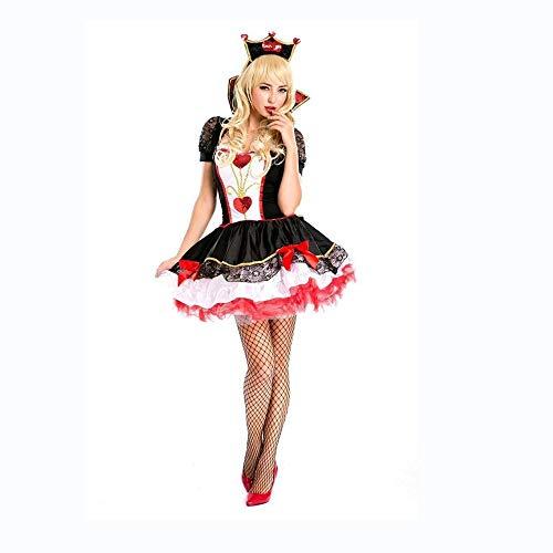 Schach Erwachsene Königin Kostüm Für - Shisky Cosplay kostüm Damen, Halloween Herzen Königin Pack Schach Königin Cosplay Nachtclub abends Wein