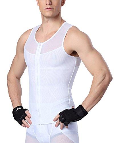 Herren Body Shaper Shapwear Figurformend Bauchweg Tank Top Ärmellos Shirt Funktionsunterwäsche mit Reißverschluss Weiß XL - Top Shaper Tank Body