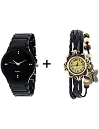 JOHN RICHARD COMBO OF BLACK QUARTZ ANALOG WATCH FOR MAN WITH BLACK DESIGNER L...
