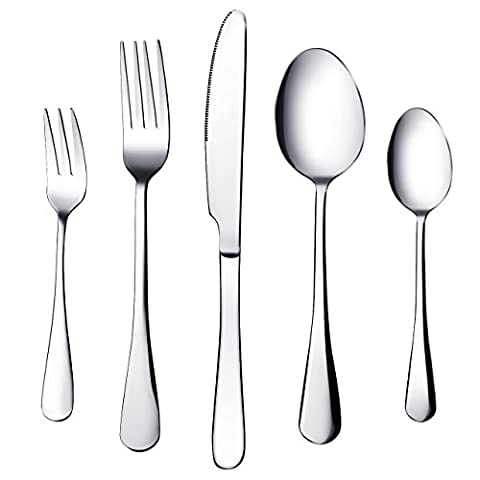 (4 Sets) Great Value 20 Piece Cutlery Set, TopElek Knife Fork Spoon Set withTableware Stainless Steel Mirror Polishing Design for Home, Kitchen or Restaurant,