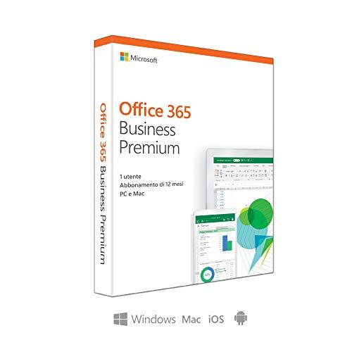 Microsoft Office 365 Business Premium   utilizzabile da 1 persona   fino a 5 PC/Mac + 5 dispositivi mobili + 5 tablets   1 abbonamento annuale   scatola