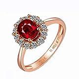 Mujer 18K Oro Rosa Anillo 0.75CT Ovalada Rubí Diamante Anillo Eternidad Compromiso Boda Banda Anillo Tamaño 6,75