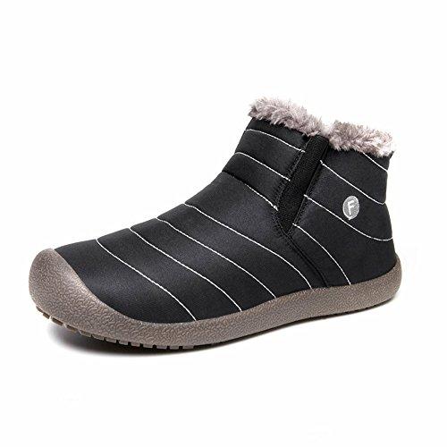 SITAILE Herren Damen Outdoor Knöchelhoch Slip on Komfort Boots Stiefel für Winter,Schwarz,45 (Kampf Erwachsene Stiefel)