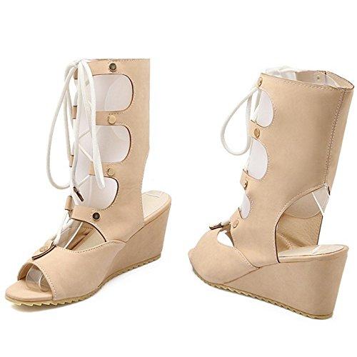 COOLCEPT Femmes Mode Lacets Sandales Orteil ouvert Compenses Slingback Chaussures Ete Boots Abricot