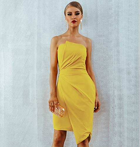 JJHR Kleider Gelbe Party Runway Kleid Frauen Sommer Ärmellos Trägerlos Elegant Seitlicher Reißverschluss Celebrity Club Kleid, M (Frauen-reißverschluss-kleid)