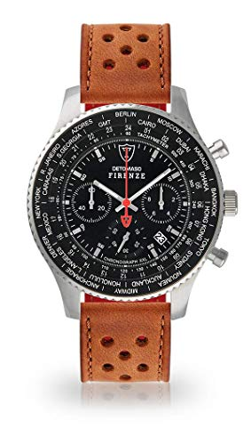 DETOMASO Firenze XXL Herren-Armbanduhr Chronograph Analog Quarz Silbernes Edelstahl-Gehäuse Schwarzes Zifferblatt (Leder - Dunkel Braun (Racing Style))
