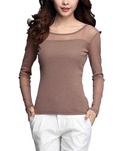 Guiran Damen Langarm Shirt Rundhalsausschnitt Transparent Tüll Mesh Bluse T-Shirt Tops Oberteile Kaki XXL