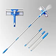 Wotteickl Glass Wiper Window Squeegee Cleaner, 3 in 1 Window Cleaning Tools with Long Handle and Spray Head, W