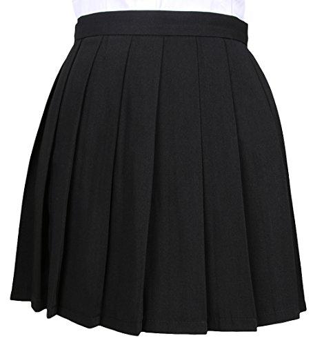 La vogue Mädchen Damen A-Linie Schule Uniform Rock Minirock Schwarz Maße2(M)