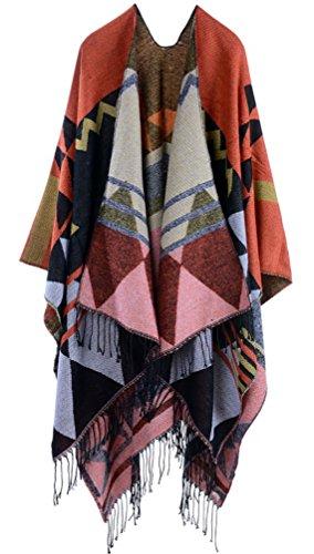 Donna Poncho E Mantelle Grandi Scialle Knitted Eleganti Cardigan Vintage Bohemian Etno-Style Moda Giovane Tassels Inverno Reversibile Calda Kashmir Mantellina Scialle Cappotto Outwear Arancia