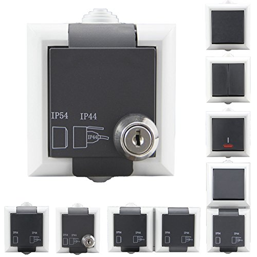 Aufputzsteckdose Schalterserie | Steckdosen & Aufputz Schalter wählbar | Doppelt & 1-Fach wählbar | IP54 + Schutzkontakt - geeignet für den Aussenbereich | Aufputzsteckdose, abschließbar