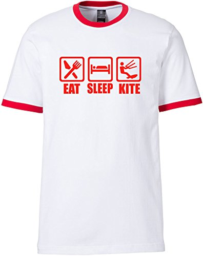 EZYshirt® Eat Sleep Kite Herren Rundhals Ringer T-Shirt Weiss/Rot/Rot