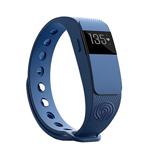 NINETEC Smartfit F2HR Blau Fitness Tracker mit Pulsmesser Bluetooth 4.0 Sport Armband Schrittzähler Aktivitätsarmband Fitnessarmband Sportuhr mit Schlafanalyse Kalorienanalyse SMS Anrufe