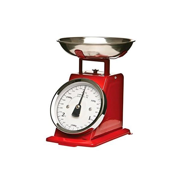 AC-Déco - Bilancia da cucina meccanica con piatto rimovibile, max. 3 kg, stile vintage, colore: rosso