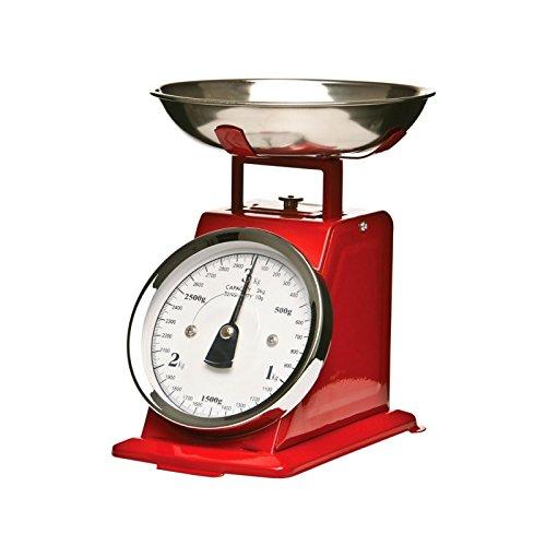 Bilancia meccanica da cucina, effetto vintage, con ciotola amovibile, colore: rosso, fino a 3 kg