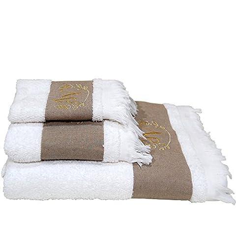 5Sterne Top Qualität Hotel Edition Weiß Set–Personalisierte Duschtücher–ref. Bettwäsche–3Stück