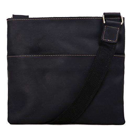 Leathario bolso bandolera con la primera capa de cuero de caballo loco para  hombres