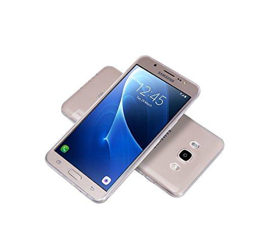 Minto Schutzhülle und Panzerglasfolie für iPhone 7 / iPhone 8 Hülle TPU Case Silikon Crystal Cover Durchsichtig Ultradünn 0.6mm (verkleinerte Folien, aufgrund der Wölbung des Displays) Galaxy J5 (2016)