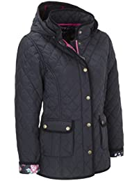 VEDONEIRE Womens Quilted Jacket with detachable hood (5038) Navy blue padded coat