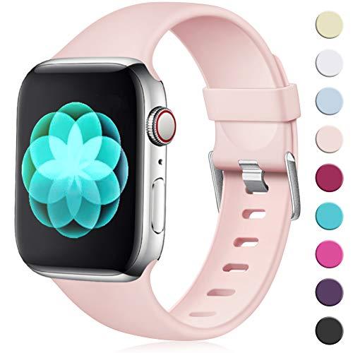 Maledan Kompatibel für Apple Watch Armband 38mm 40mm, Ersatzarmband aus Weiches TPU Verstellbares Uhrenarmband mit Klassische Schnalle für Apple Watch Series 4/3/2/1 S/M Rosa