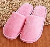 Qsy shoe Winter Männer und Frauen warmes Zuhause Plüsch Candy Farbe Geschenk Schaum Baumwolle Hausschuhe, rosa Frau, 37-38 geeignet für 35-37 Meter von Füßen