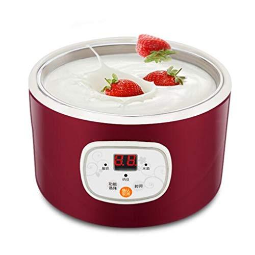 Yogurtera eléctrica inteligente Temporizador multifunción de acero inoxidable de 1 litro de capacidad automática fabricante de helado del hogar portátil,Rojo
