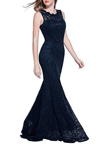 Miusol Damen Kleid Elegant Spitzen Sommer Rueckenfrei Aemerlos Langes Fishtail?Brautjungfer Cocktailkleid Dunkelblau Gr.L -
