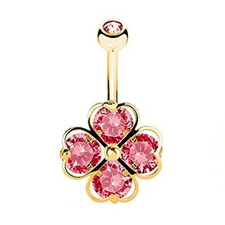 Piercingfaktor Bauchnabelpiercing Banane Piercing Bauch Stecker Gebogen mit Kristall Herz Kleeblatt Gold Rot