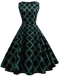 bb16b266a606a VICGREY ❤ Donna Annata 1950 retrò Rockabilly Polka Vestito da Audery Swing  Senza Maniche Abito da