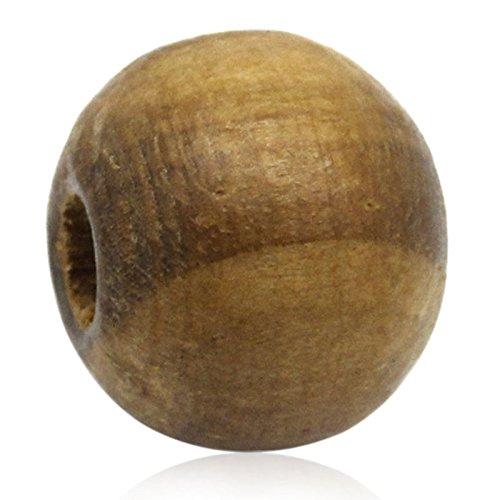 Sadingo Holzperlen, Holzkugeln - Naturell, unlackiert - 50 Stück - 1 cm - Braune Farbgebung (Braune Holzperlen)