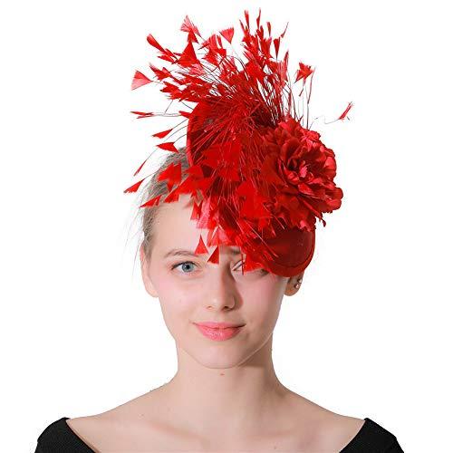 Y.L Master Bridal Top Hut Retro Feder Haarschmuck Hochzeit Fascinator Cocktail Wedding Hat Blumen,Red
